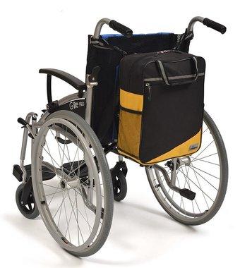 Wheelyscoot rugleuningtas rolstoel geel